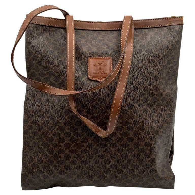 Celine Vintage Brown Macadam Canvas Shopping Bag Tote For Sale