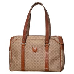 Celine Vintage Brown Macadam Canvas Shoulder Bag