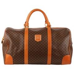 Celine Vintage Brown Macadam Canvas Travel Duffle Bag