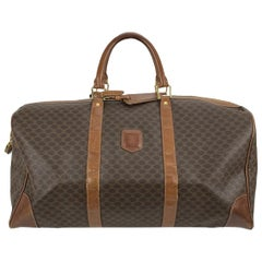 Celine Vintage Brown Macadam Canvas Travel Duffle Duffel Bag