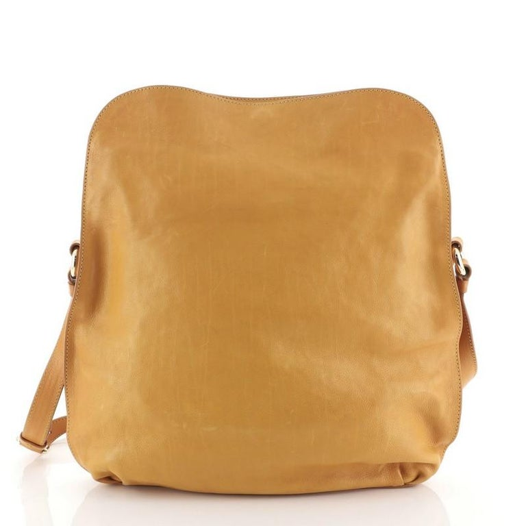 Brown Celine Vintage Carriage Messenger Bag Perforated Leather Large For Sale