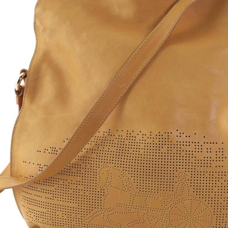 Celine Vintage Carriage Messenger Bag Perforated Leather Large For Sale 3