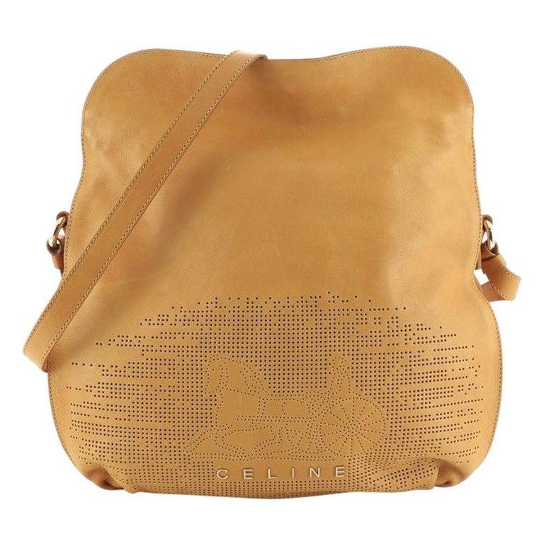 Celine Vintage Carriage Messenger Bag Perforated Leather Large For Sale