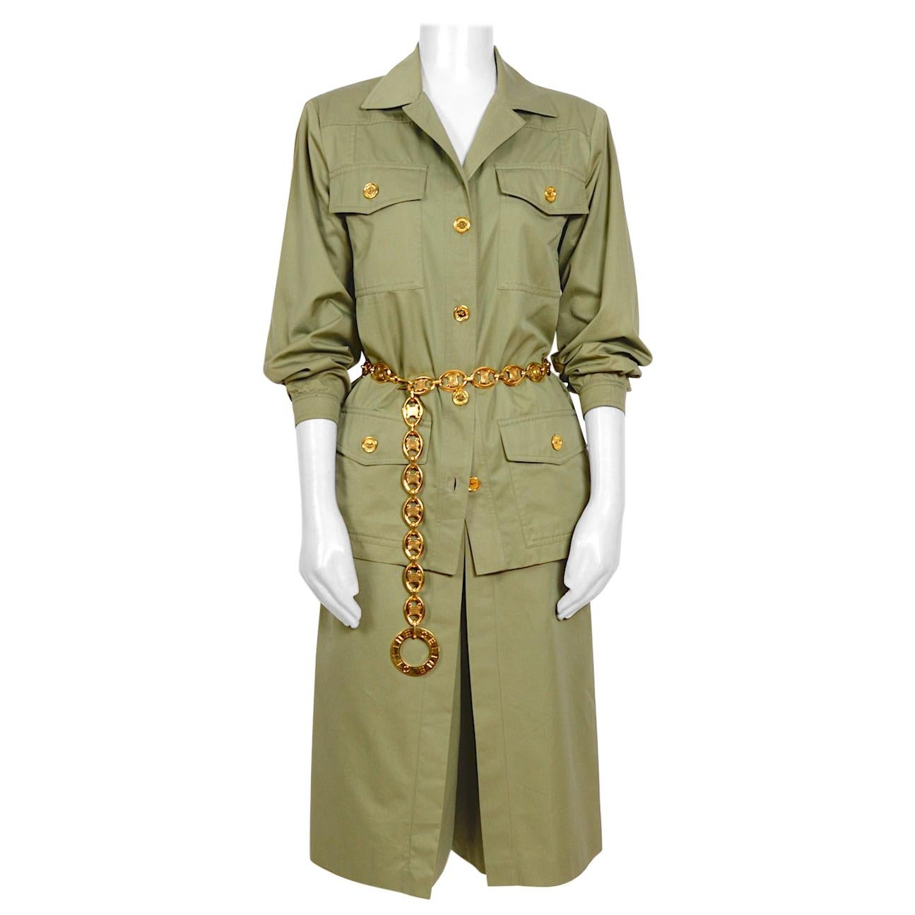 Celine vintage cotton safari style signed gold buttons jacket and skirt suit