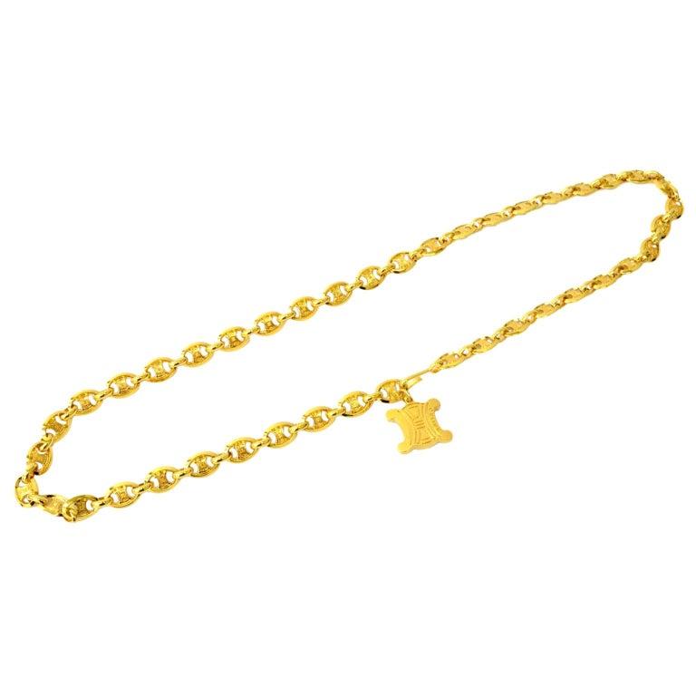 Celine Vintage Gold Logo Chain Link Charm Waist Belt  For Sale