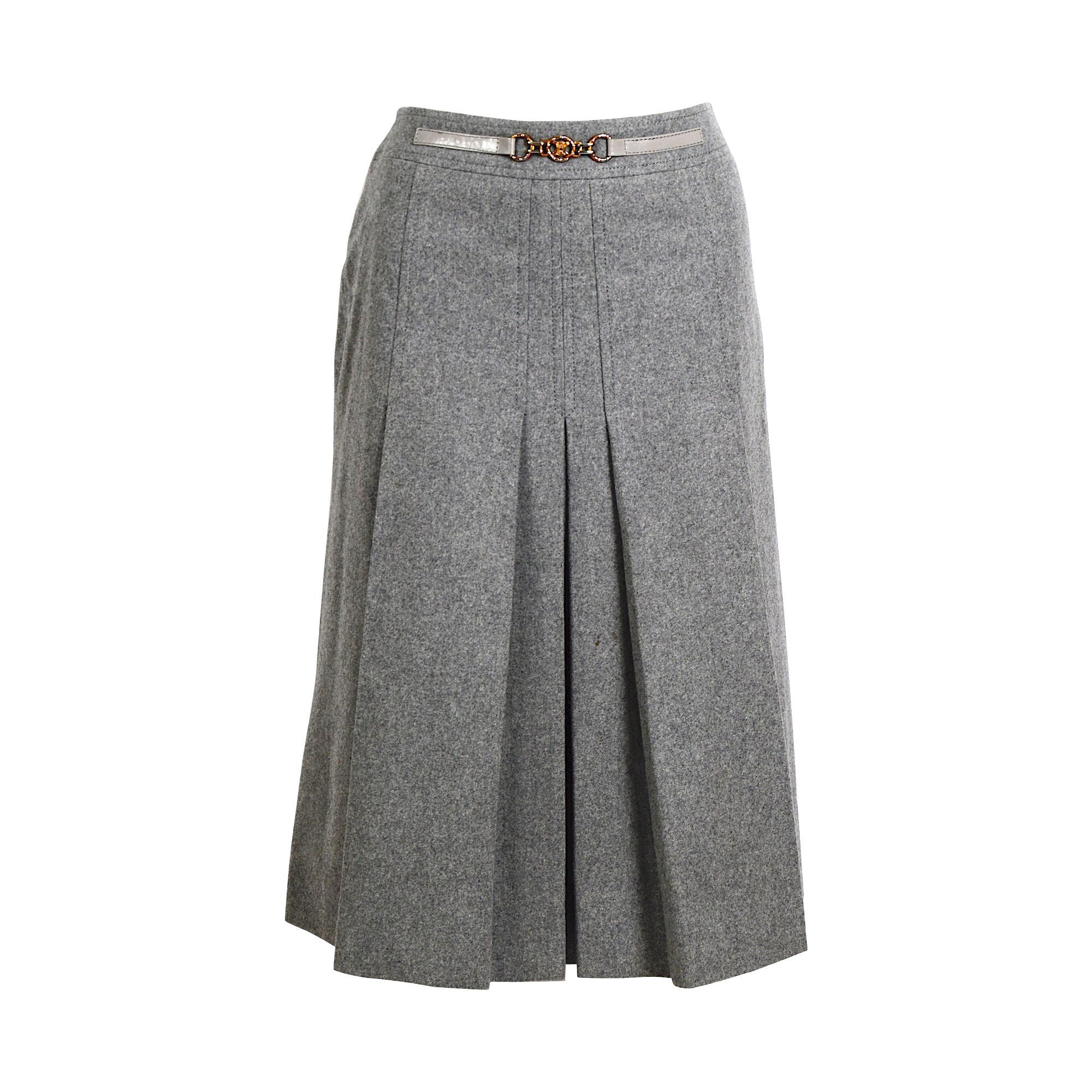 Céline vintage grey wool pleated skirt.