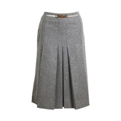 Céline vintage grey wool pleated skirt.