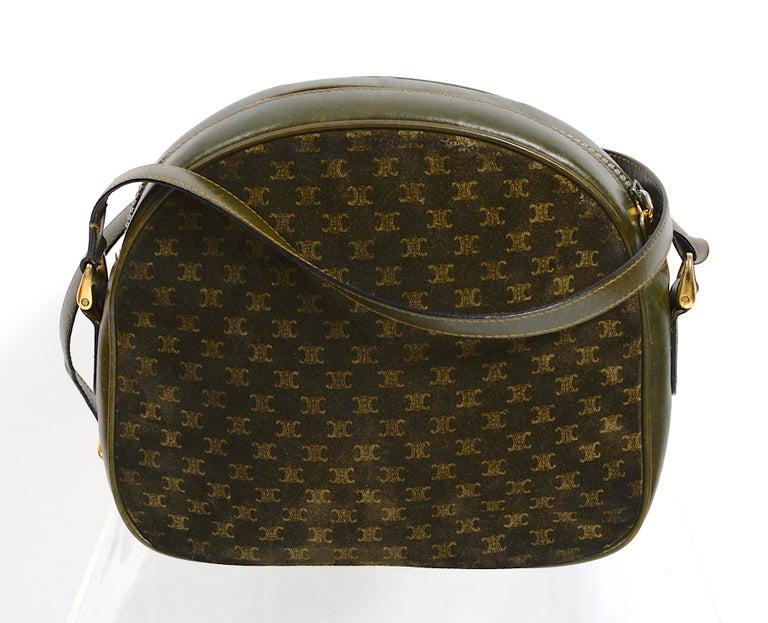 Black Celine vintage hunter green logo crossbody bag For Sale