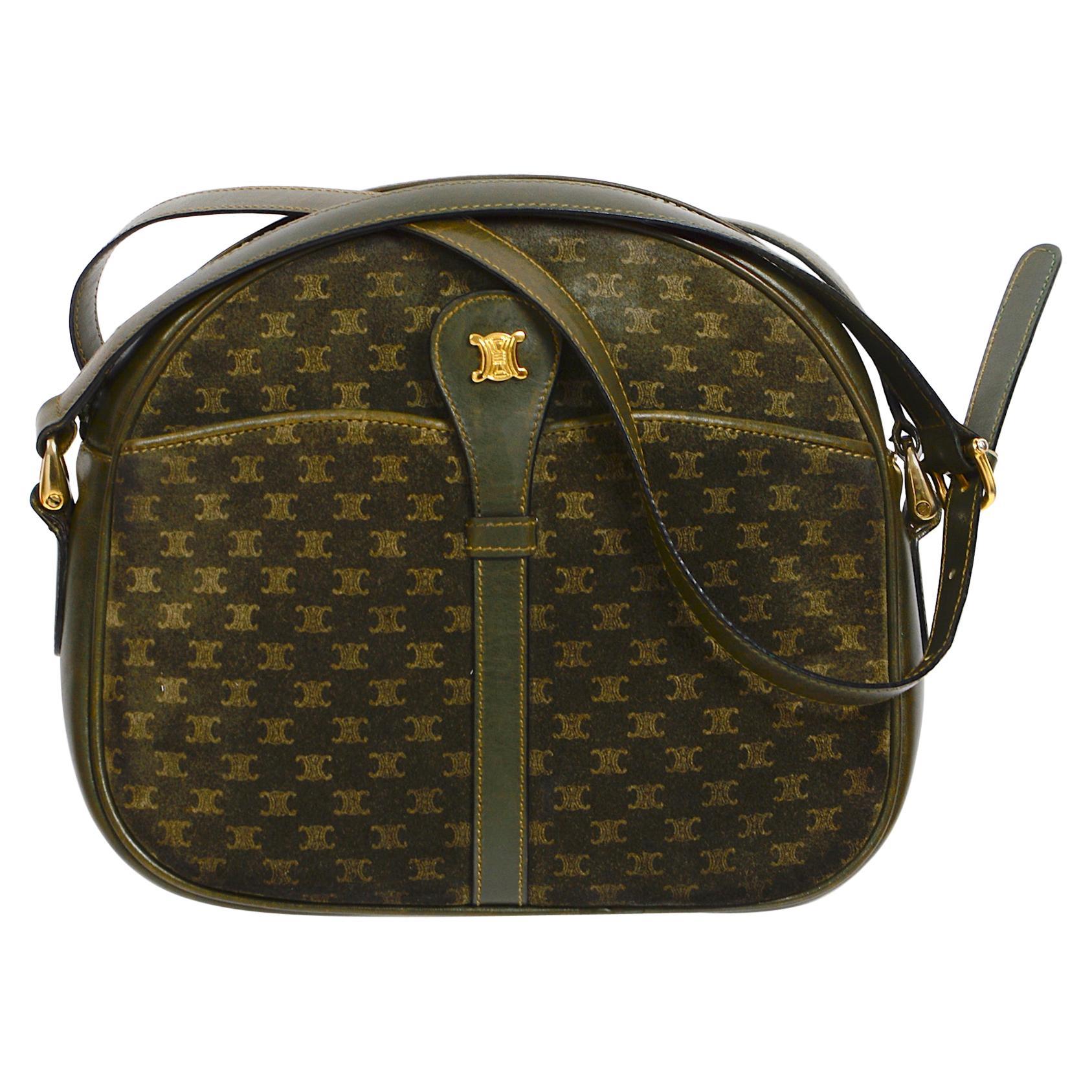 Celine vintage hunter green logo crossbody bag