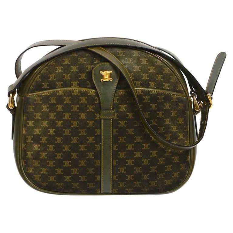 Celine vintage hunter green logo crossbody bag For Sale