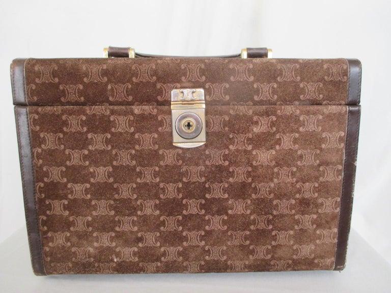 Celine Vintage Macadam Suede Leather Vanity Case, 1970s For Sale 7