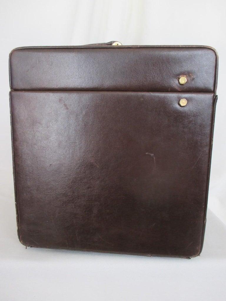 Brown Celine Vintage Macadam Suede Leather Vanity Case, 1970s For Sale
