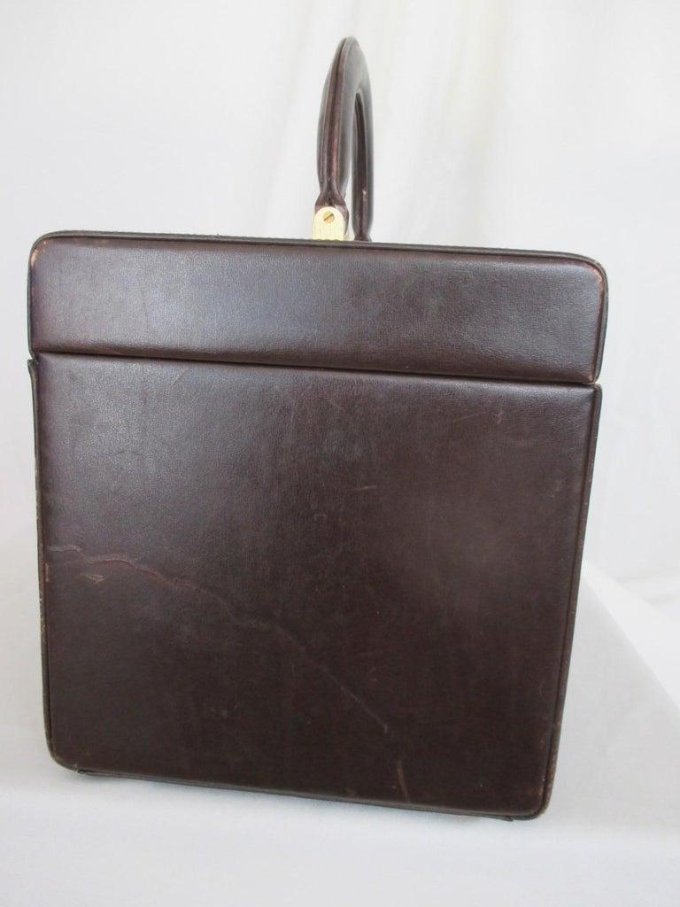 Women's or Men's Celine Vintage Macadam Suede Leather Vanity Case, 1970s For Sale