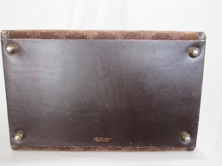 Celine Vintage Macadam Suede Leather Vanity Case, 1970s For Sale 1