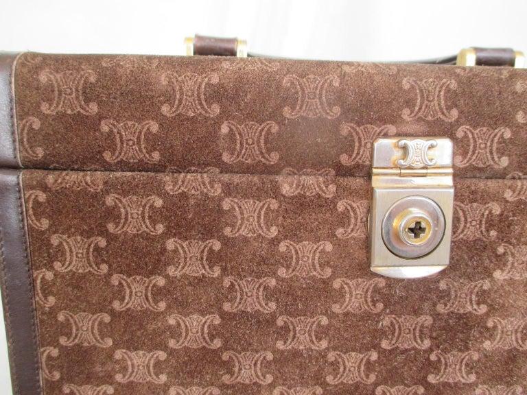 Celine Vintage Macadam Suede Leather Vanity Case, 1970s For Sale 3