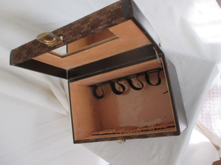 Celine Vintage Macadam Suede Leather Vanity Case, 1970s For Sale 4