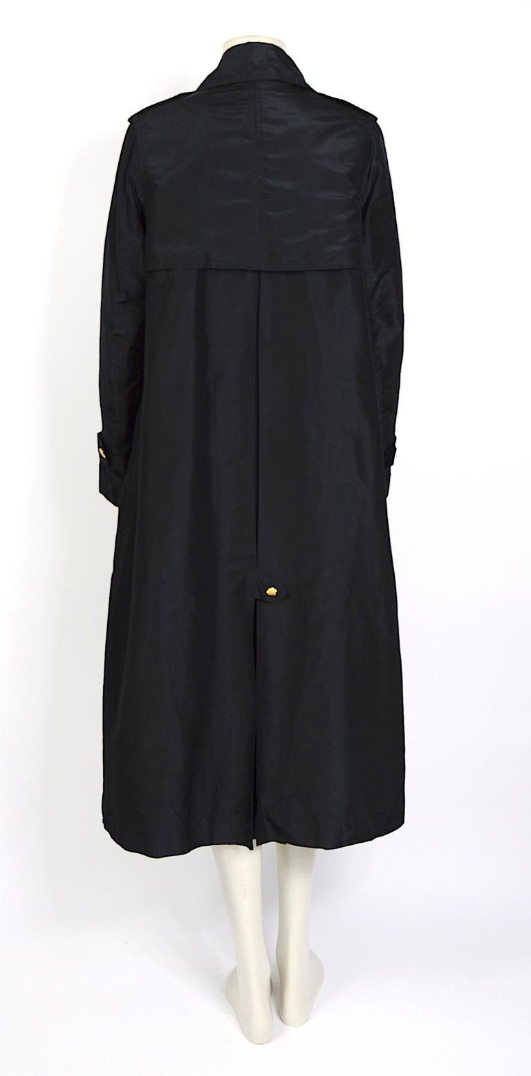Black Celine vintage signature gold buttons and black silk crispy taffeta coat For Sale