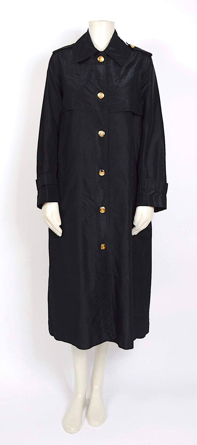 Women's Celine vintage signature gold buttons and black silk crispy taffeta coat For Sale