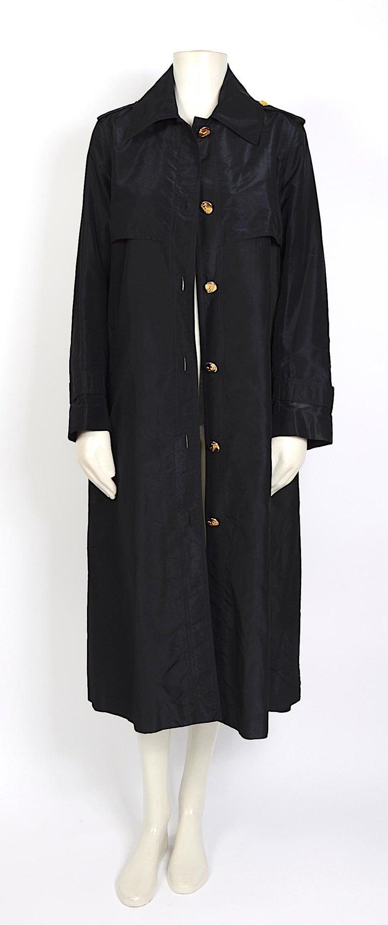 Celine vintage signature gold buttons and black silk crispy taffeta coat For Sale 1