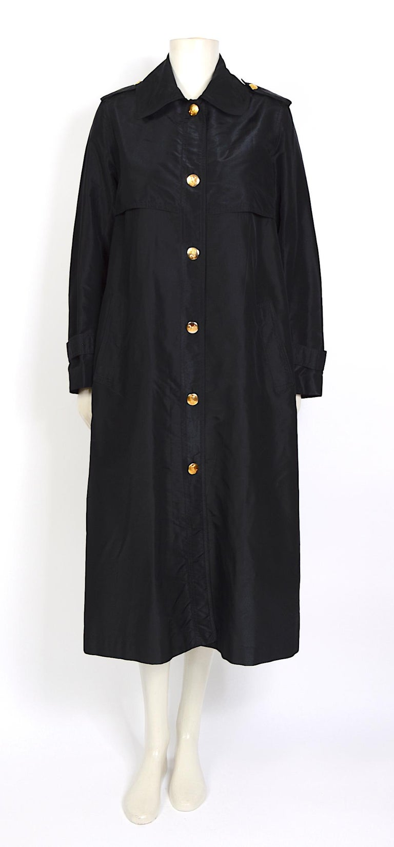 Celine vintage signature gold buttons and black silk crispy taffeta coat For Sale 2