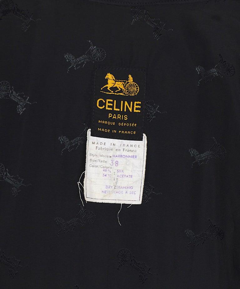 Celine vintage signature gold buttons and black silk crispy taffeta coat For Sale 3