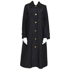 Celine vintage signature gold buttons and black silk crispy taffeta coat