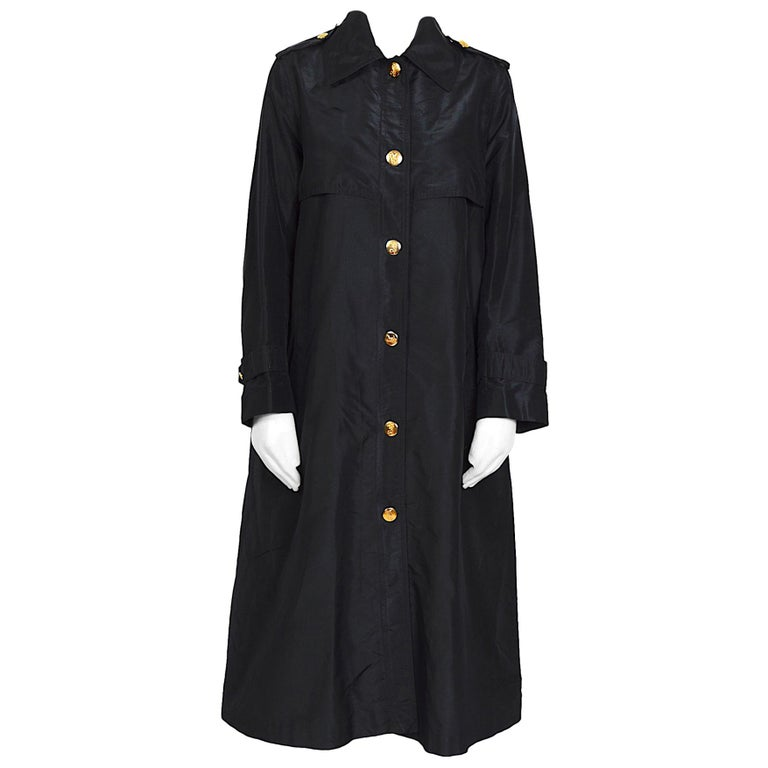 Celine vintage signature gold buttons and black silk crispy taffeta coat For Sale