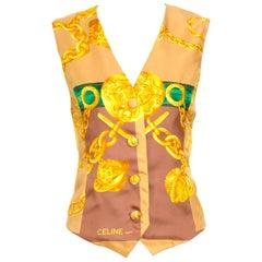 Celine vintage silk signed gold chain print short vest waistcoat