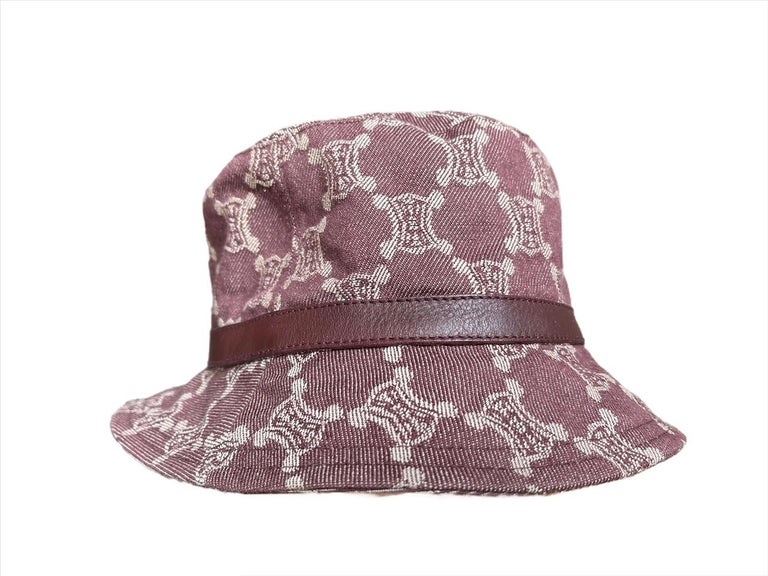 Gray Celine Vintage Triomphe Denim Bucket Hat Size Small For Sale