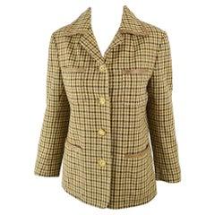 Celine Vintage Women's Wool & Leather Checked Wool Jacket, c. 1970s