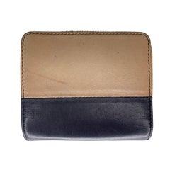 Celine Vintage Zip Around Beige Leather Compact Wallet