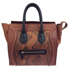 Celine Whiskey Colorblock Snakeskin Handbag