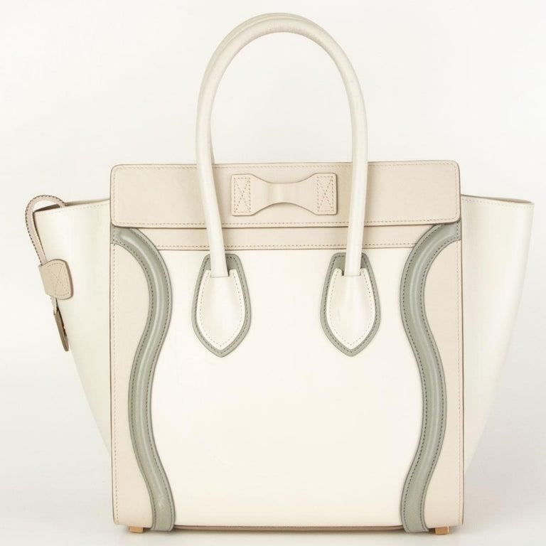 Beige CELINE white beige green leather TRI COLOR MICRO LUGGAGE TOTE Bag For Sale