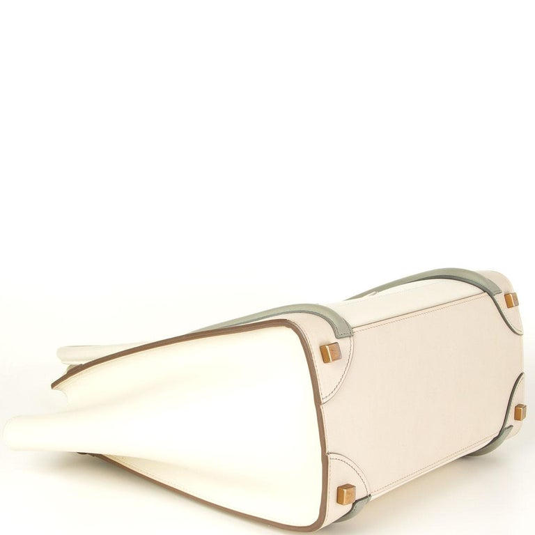 CELINE white beige green leather TRI COLOR MICRO LUGGAGE TOTE Bag In Good Condition For Sale In Zürich, CH