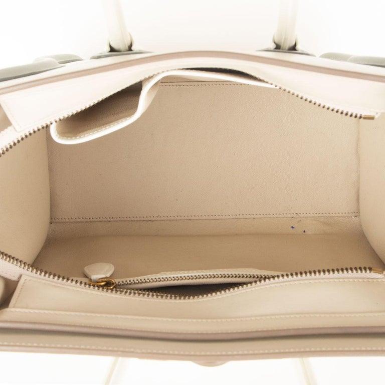 Women's CELINE white beige green leather TRI COLOR MICRO LUGGAGE TOTE Bag For Sale