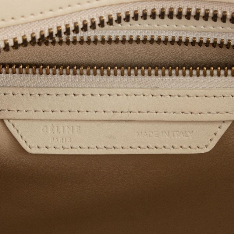 CELINE white beige green leather TRI COLOR MICRO LUGGAGE TOTE Bag For Sale 2
