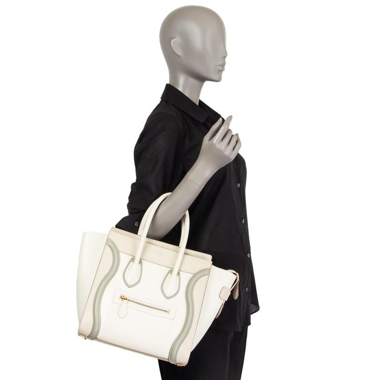 CELINE white beige green leather TRI COLOR MICRO LUGGAGE TOTE Bag For Sale 3