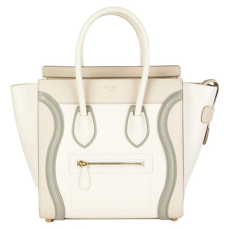 CELINE white beige green leather TRI COLOR MICRO LUGGAGE TOTE Bag For Sale