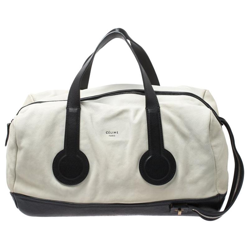 Celine White/Black Leather Vintage Weekender Bag