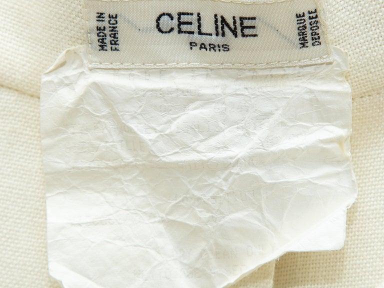 Celine White Button Midi Skirt For Sale 1