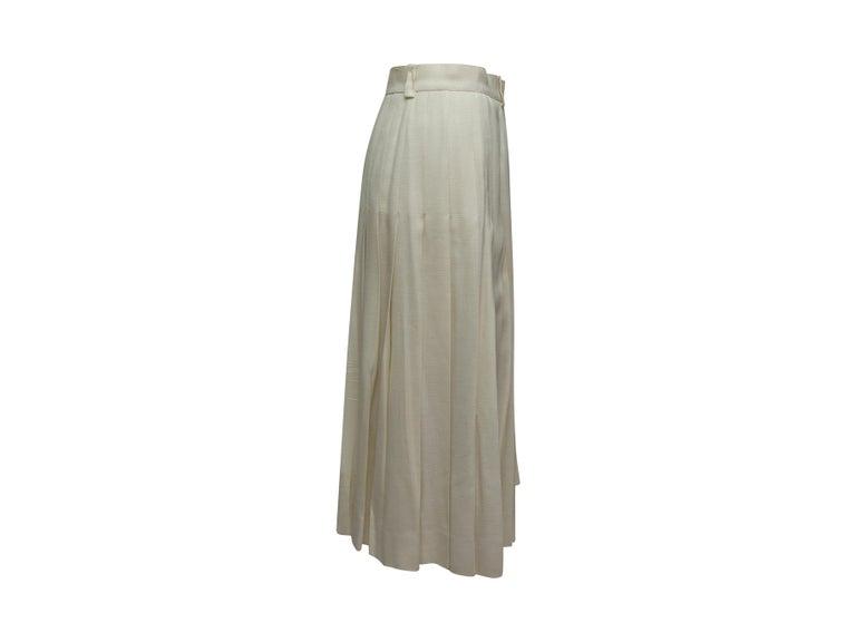 Celine White Button Midi Skirt For Sale 2