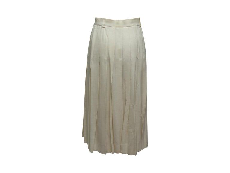 Celine White Button Midi Skirt For Sale 3