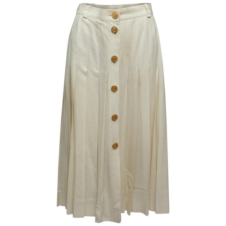 Celine White Button Midi Skirt For Sale