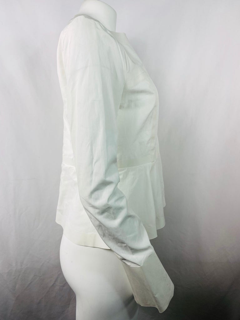 Celine White Cotton Long Sleeves Blouse Top Size 40 In Good Condition For Sale In  Beverly Hills, CA