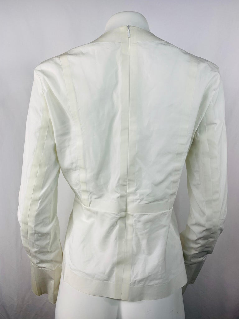 Women's Celine White Cotton Long Sleeves Blouse Top Size 40 For Sale
