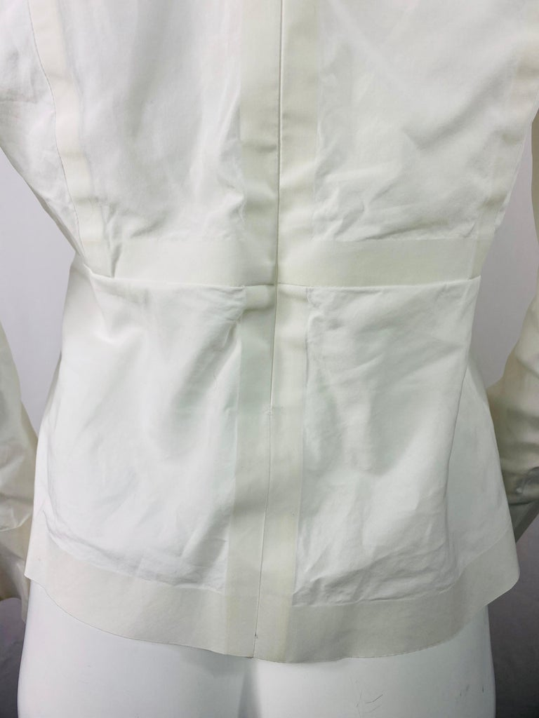 Celine White Cotton Long Sleeves Blouse Top Size 40 For Sale 1
