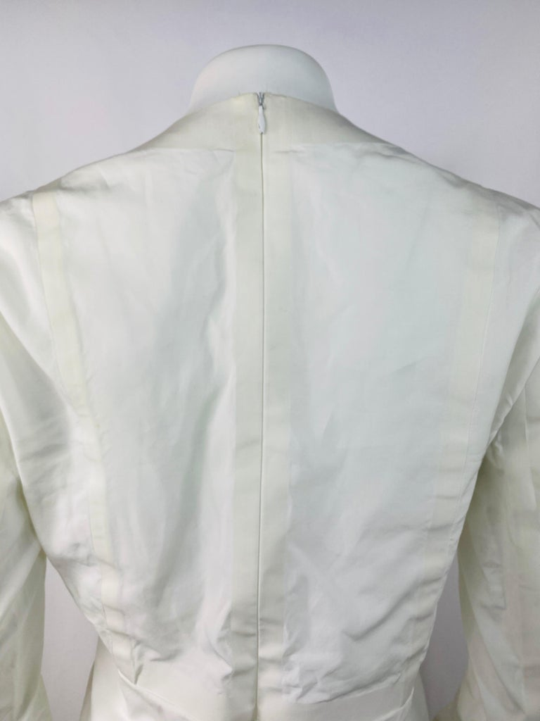 Celine White Cotton Long Sleeves Blouse Top Size 40 For Sale 2