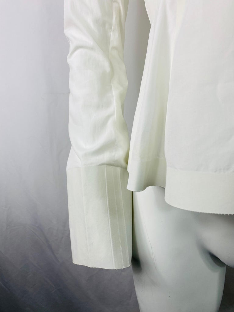 Celine White Cotton Long Sleeves Blouse Top Size 40 For Sale 4