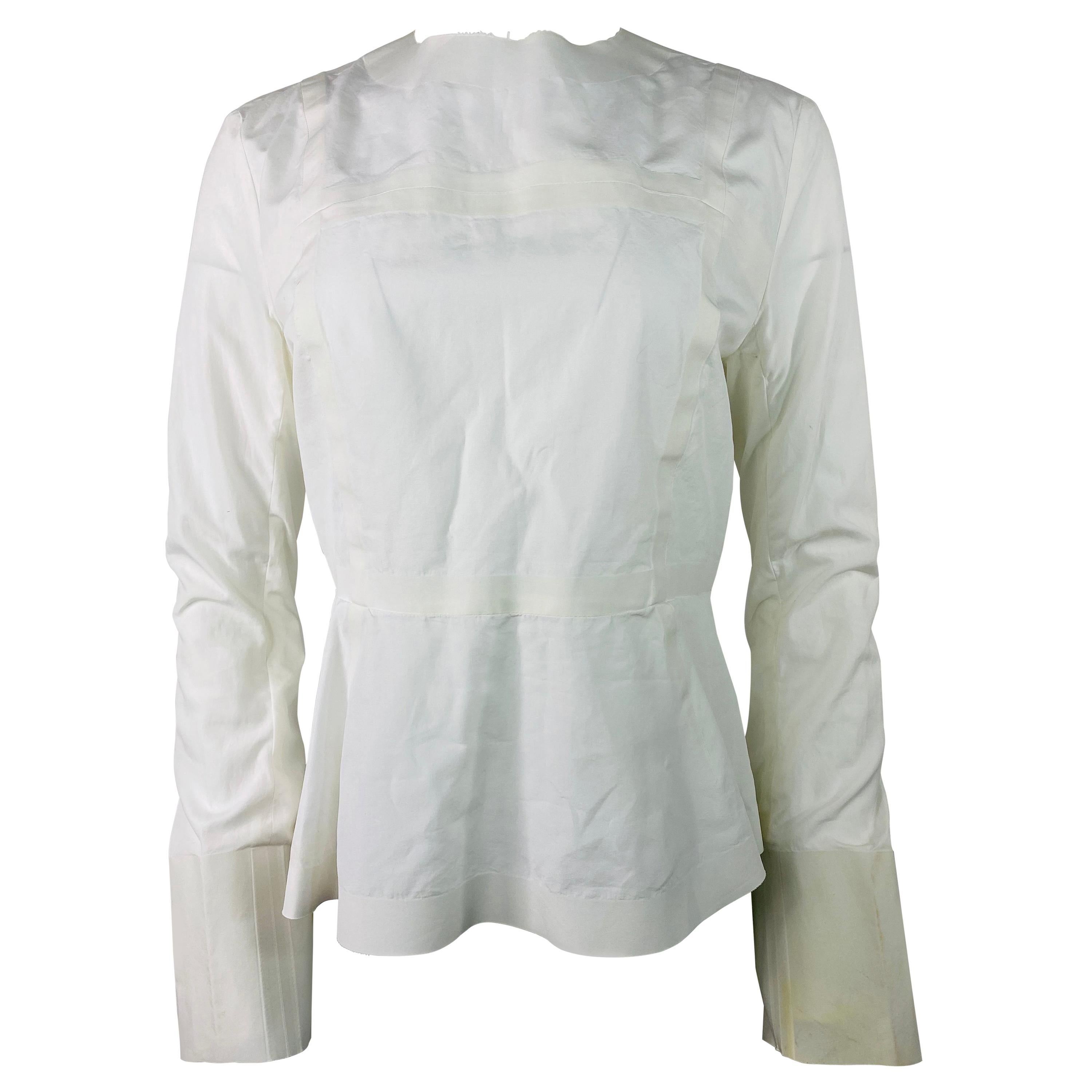 Celine White Cotton Long Sleeves Blouse Top Size 40