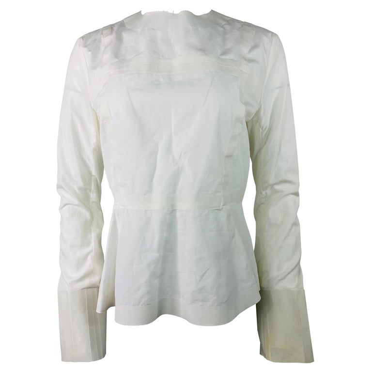Celine White Cotton Long Sleeves Blouse Top Size 40 For Sale